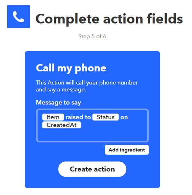 Openhab IFTTT Integration - Create Action 6